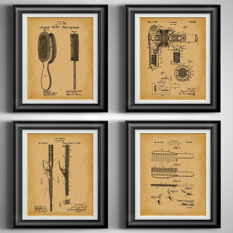 Antique salle de bain oeuvre salle d'eau toilette Art Decor fer à friser  cheveux Brosse peigne imprimé Design cheveux sèche affiche Set de 4 ...