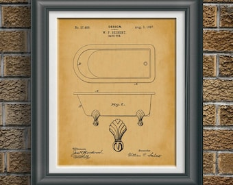 Claw Foot Tub Gift for Wife Gift for Spouse Housewarming Gift Bathroom Patent Master Bath Wall Art Bathroom Artwork Bathroom Decor PP 1031