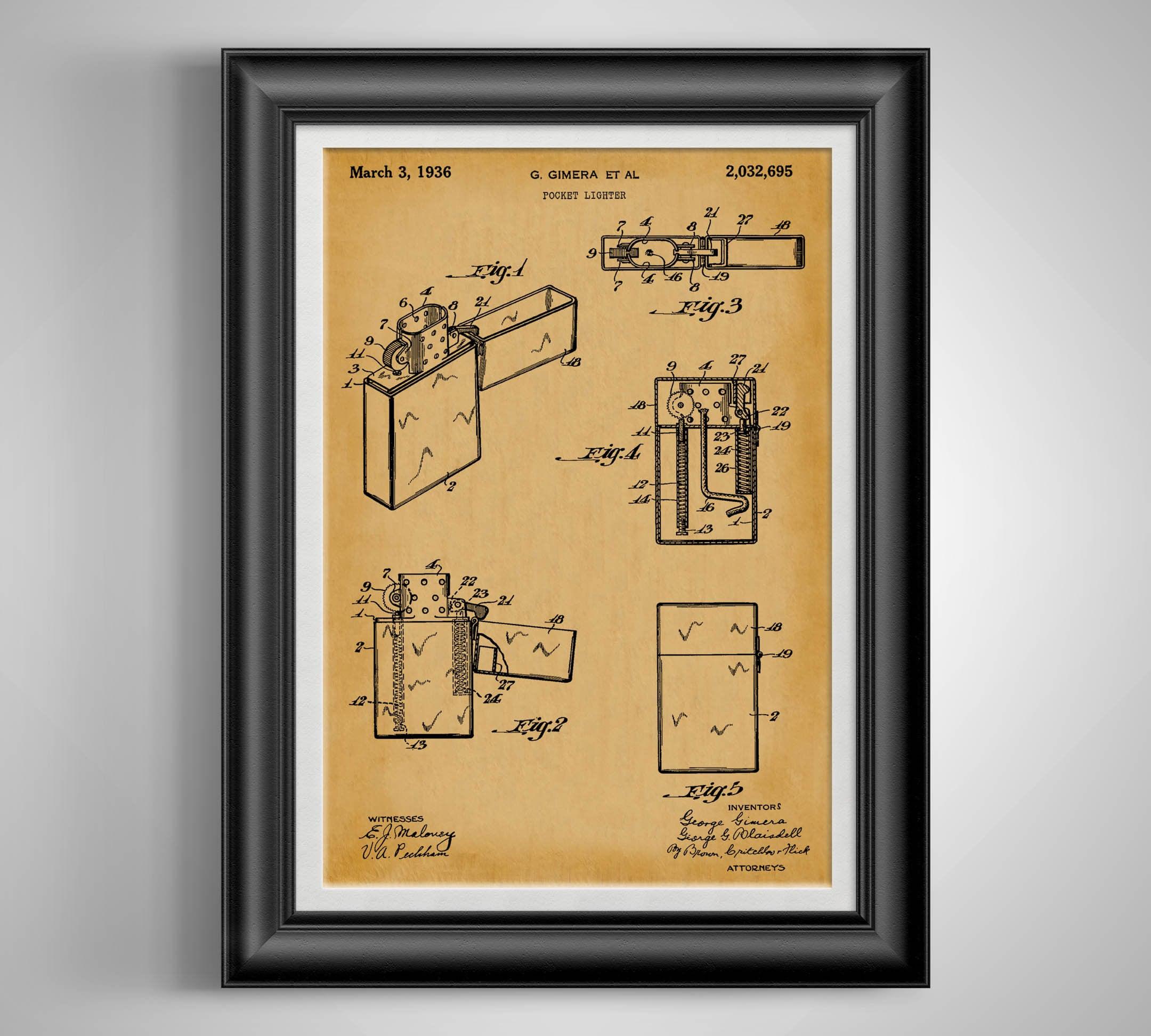 Zippo Lighter Patent Print Zippo Vintage Lighter Poster | Etsy