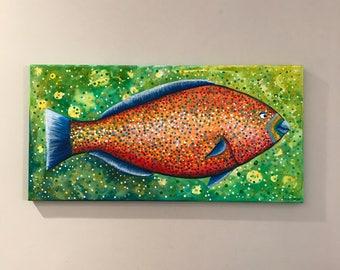 Parrotfish:  an original acrylic painting on canvas