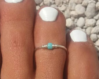SILVER PLATED, 925 Sterling Silver Toe Ring/Foot Jewelry/turquoise toe ring/Silver toe ring/Adjustable turquoise toe ring/(Non Tarnish)