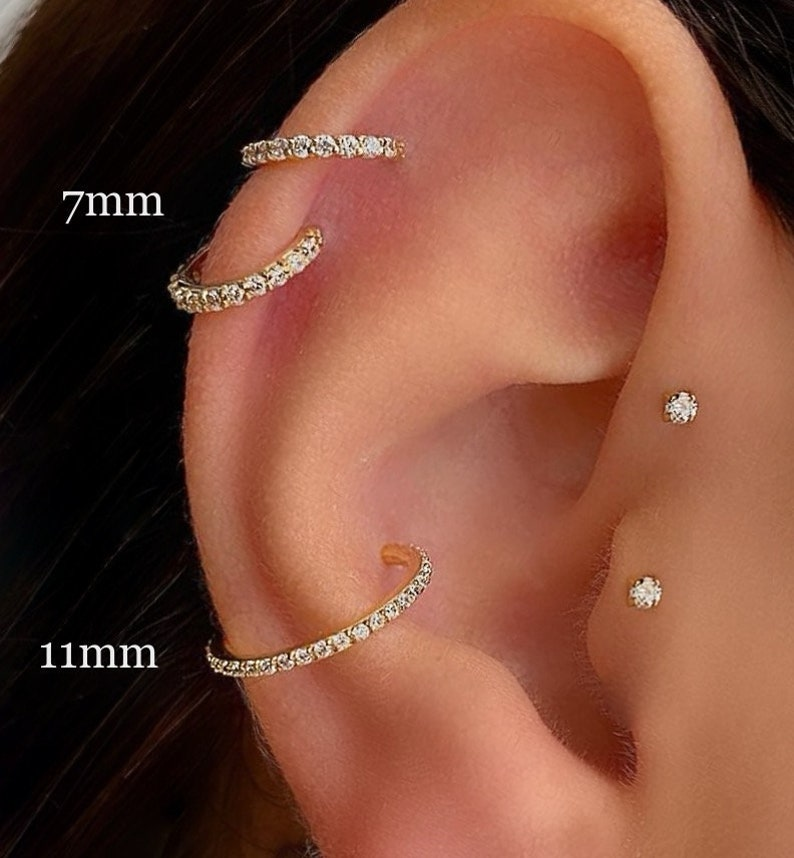 Minimalist Conch Real Piercing CZ Cartilage Earrings CZ Ear image 0