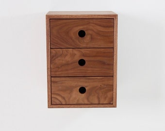 Walnut Floating Nightstand with Drawers, Narrow and Tall