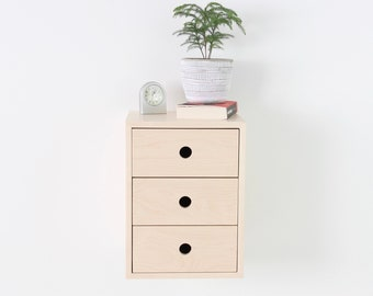 Narrow Floating Nightstand in Maple Wood with 1, 2 or 3 Drawers in Walnut / Mid Century Modern Bedside Table Solid Maple