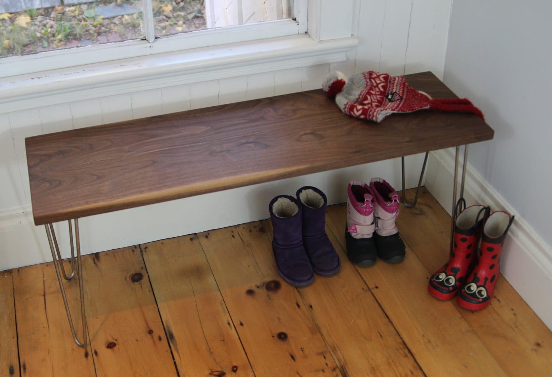 Hardwood Slab Bench Entryway Mudroom Boot Bench In Walnut