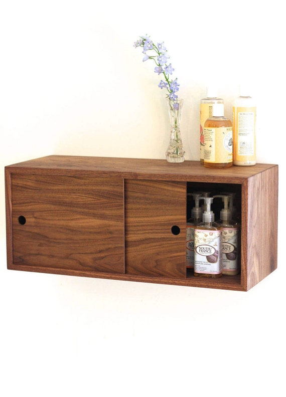 Floating Bathroom Storage Cabinet With Sliding Doors Vanity Etsy