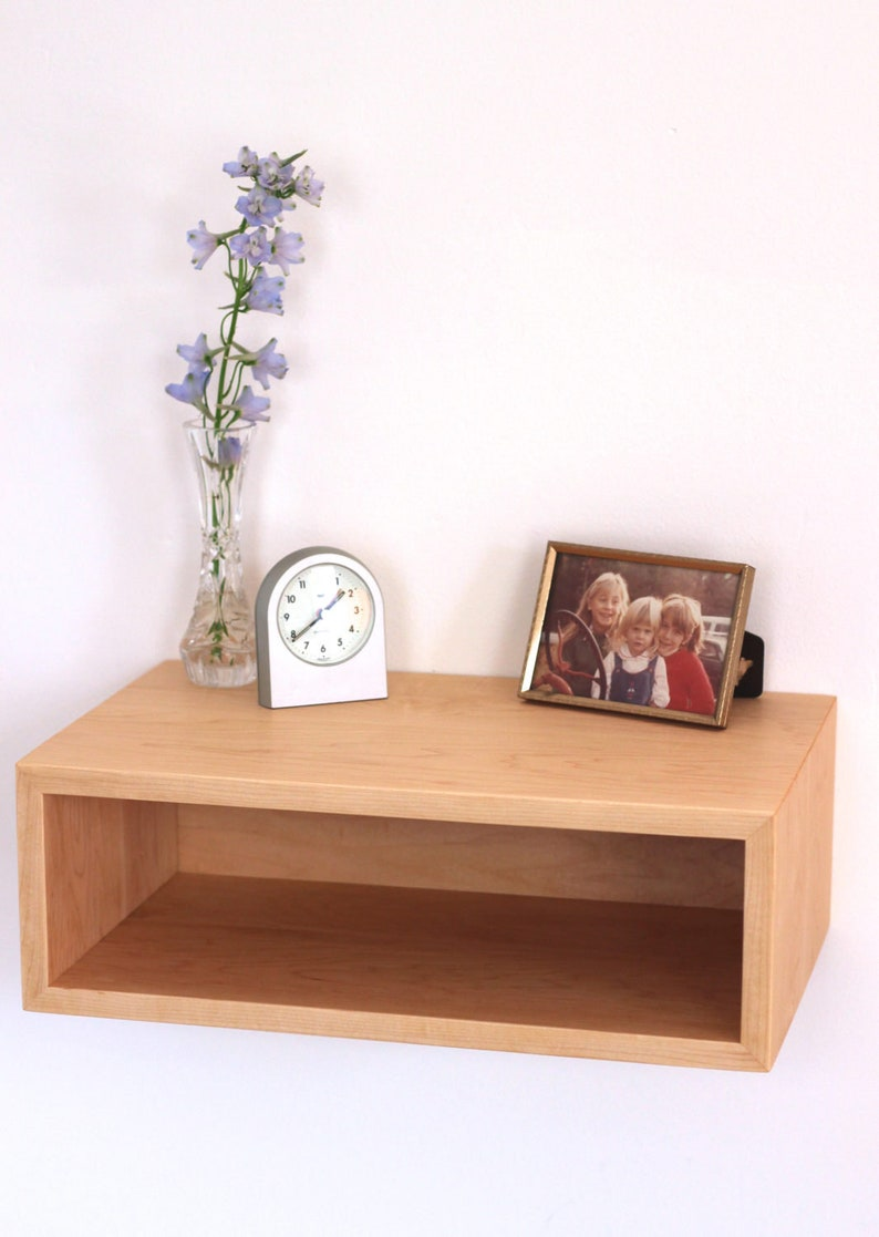 Small Floating Nightstand Modern Bedside Table In Solid Maple