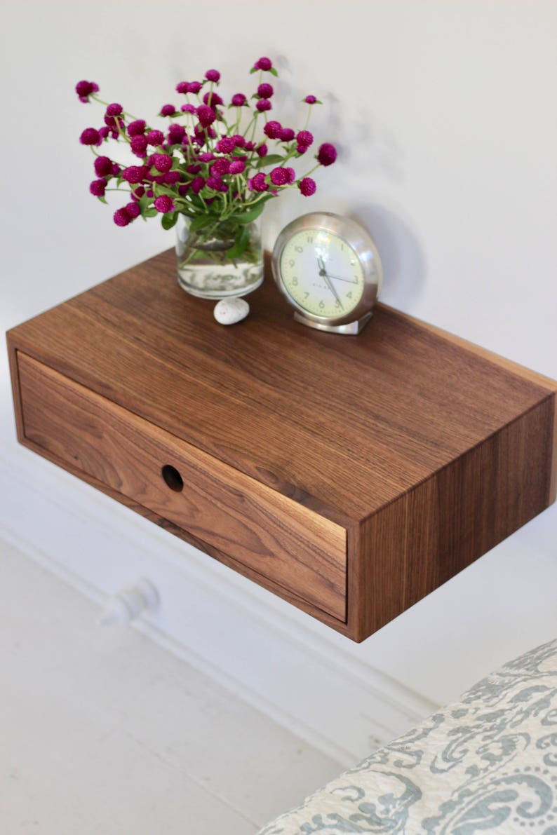 Floating Nightstand With Drawer Mid Century Modern Bedside Etsy