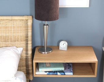 Solid White Oak Floating Nightstand