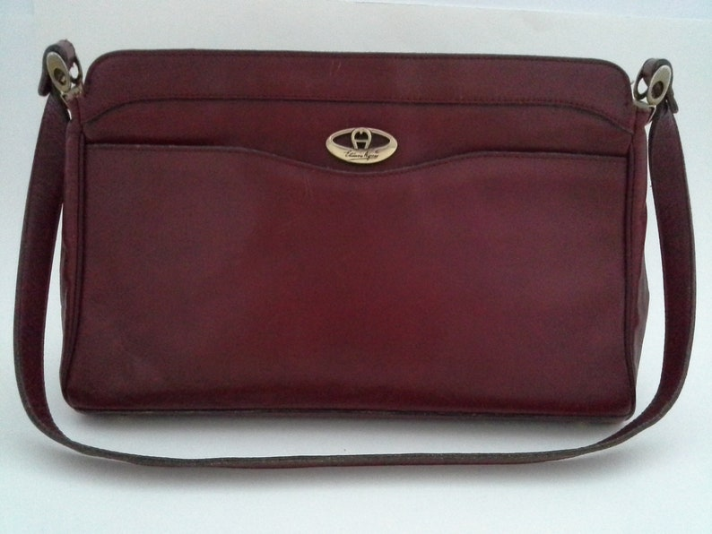 Vintage Etienne Aigner Purse EA Leather Oxblood Burgundy  d683019b937b6