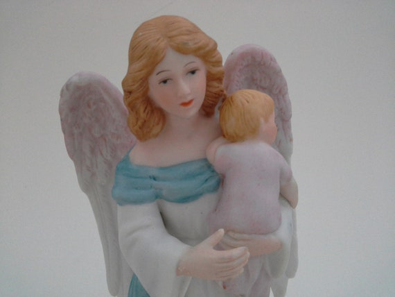 Vintage Homco Home Interior Guardian Angel And Baby Figurine Etsy