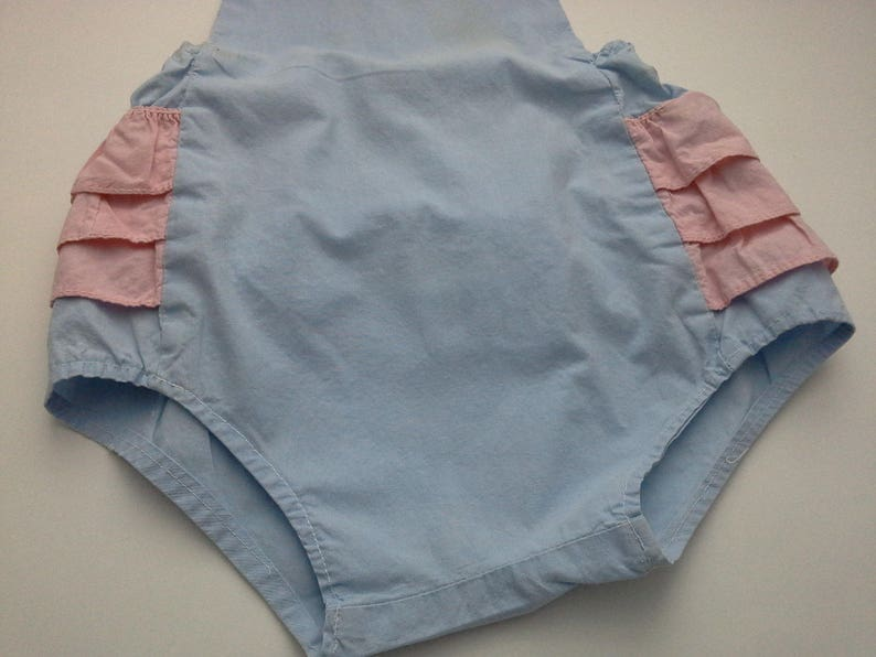 Vintage Baby Romper Little Girl  Playsuit Shabby Ruffled Bloomers Toddler Sun Suit