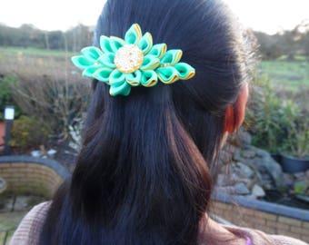 Hand-made Green/Yellow Hair Barrette Kanzashi Flower Clip