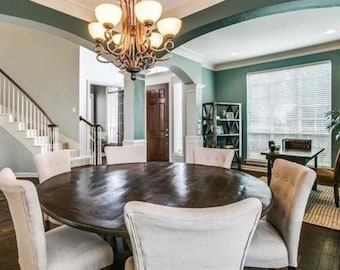 Round Farmhouse Dining Conference Table With Breadboard