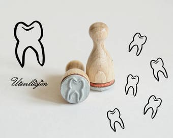 Stamp mini tooth, baby tooth, dentist, rubber stamp Ø 12 mm