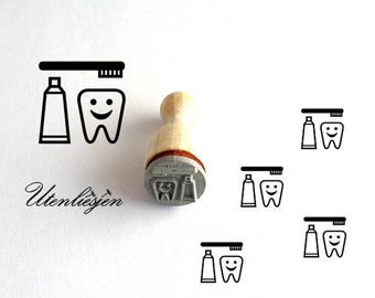 Stamp mini tooth, toothbrush, toothpaste, tooth care, dentist, rubber stamp Ø 12 mm