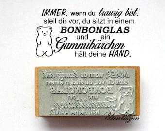 Stamp , gummi bear, jellybaby, rubber stamp 30 x 60 mm