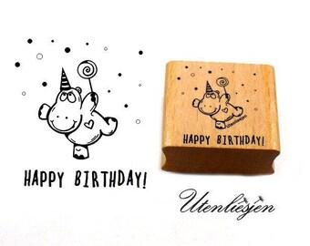 Stamp happy birthday, hippopotamus, party, 4 cm