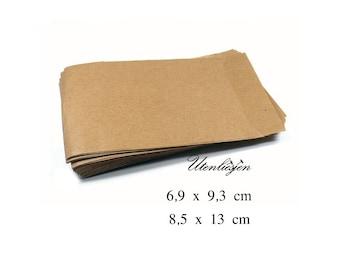 50 kraft paper bags 6.3 x 9.3 cm, 8.5 x 13 cm