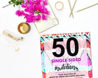 50 SINGLE-SIDED Invitations wEnvelopes