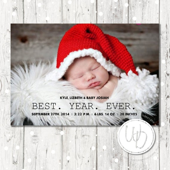 Best Year Ever Christmas Card Baby Announcement Christmas Etsy