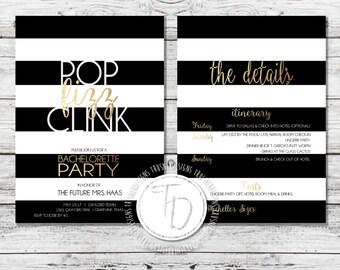 Gold Bachelorette Invitation, Striped Bachelorette Invite, Vegas Bachelorette Invitation, Bachelorette Party Invitation, Gold Party Invite