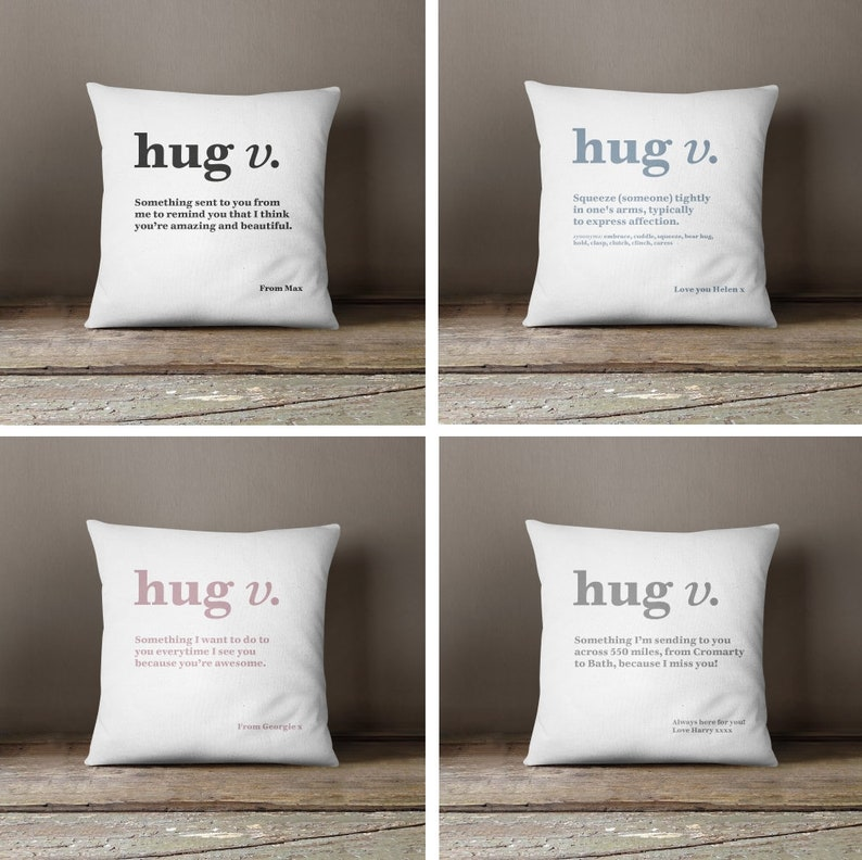 Hug Definition Cushion | Black, Grey, Pink Or Blue | Gift | Present |  Personalised Message | Customised Pillow
