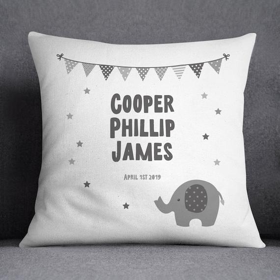 Printed Customised Girls Baby Gift Present Personalised Name Elephant Cushion