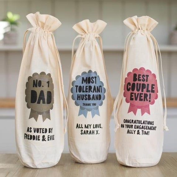 Cotton Bottle Bag Gift Bag any occasion bottle bag Happy Birthday Bottle Bag