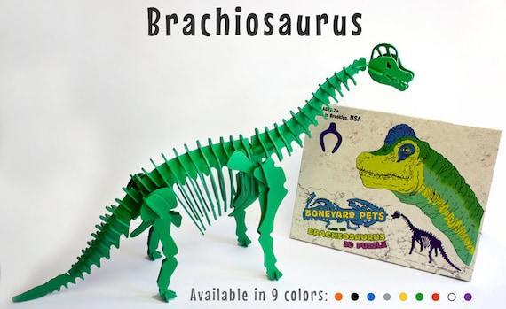 Puzzle dinosaure, dinosaure jouet, squelette de dinosaure 3D Puzzle, Recyclable PVC Brachiosaurus dinosaure jouet Puzzle, votre choix de neuf couleurs