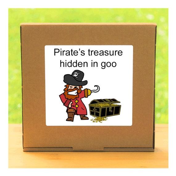 Your own Pirate's treasure hidden in a colourful squishy gel – Semi-precious gemstones and fool's gold discovery kit for children