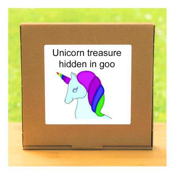 Your own Unicorn treasure hidden in a colourful squishy gel – Semi-precious gemstones and fool's gold discovery kit for children