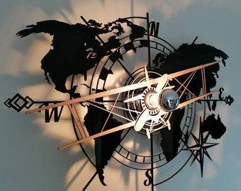 Plane on world map