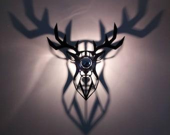 Bright Plexiglas geometric deer head