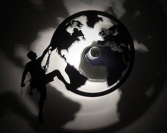 Design lamp climbing Earth applique