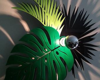 Tropical leaves wall decoration applies a shadow reach