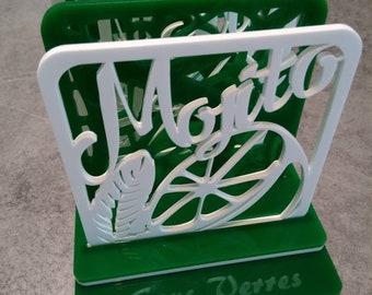 Under green and white Mojito glass
