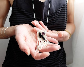 Plum 2 woven necklace