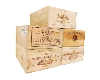 French Wine Crate 12 btl Wood, Rustic Wedding Decor, Gift Card Box, Wine Bar Home Decor, Gift Box, Storage Crates, Garden Box. (1 crate)