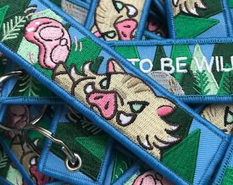 Born To Be Wild - Pig - Embroidered Keychain, Pig Keychain, Pig Embroidery, Animal keychain, Keychain, Boar Keychain, Wild Boar, Wild, Hog