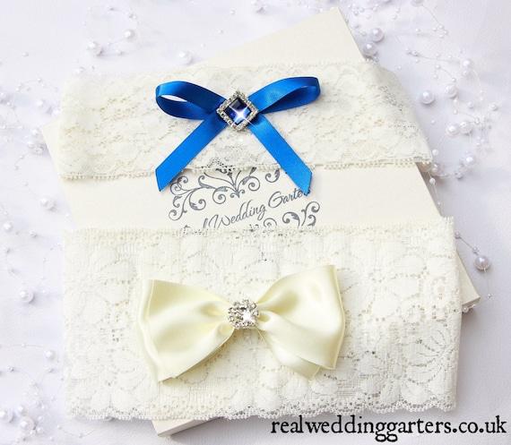 Blue Wedding Garter Uk: Something Blue Wedding Garter Blue And Ivory Wedding Garter