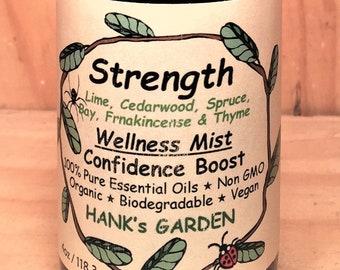 STRENGTH Wellness Mist - Confidence Boost - Lime, Cedar, Spruce, Bay Leaf, Frankincense, Thyme - 100% Pure Essential Oils, Vegan, Organic