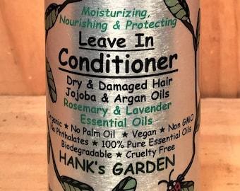 LEAVE IN Hair CONDITIONER-Dry, Damaged Hair-Jojoba, Argan & Rosehip Seed Oils-Rosemary, Lavender Essential Oils-Organic, Vegan, No Palm Oil