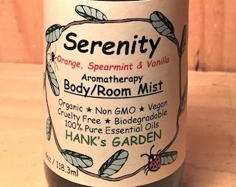 SERENITY Aromatherapy Body Room Spray Mist - Orange, Spearmint & Vanilla Essential Oils - Organic, Vegan , Biodegradable, Cruelty Free