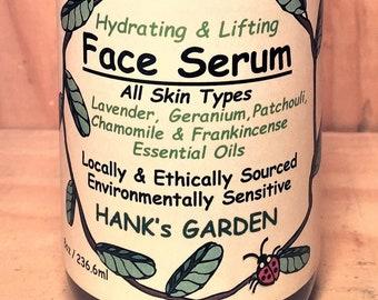 Hydrating & Lifting FACE SERUM - All Skin Types - Moringa, Rosehip Seed, Carrot Seed Oils - Lavender, Patchouli, - Organic Vegan Non GMO