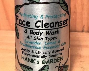 Hydrating, Protecting Face Cleanser & Body Wash - Lavender, Lemon, Frankincense Essential Oils - Organic, Vegan, Cruelty Free, No Palm Oil