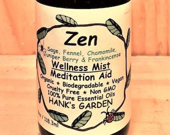 ZEN Wellness Mist - Meditation Aid - Sage, Fennel, Chamomile, Juniper Berry & Frankincense - Vegan - Organic - Non GMO - Cruelty Free