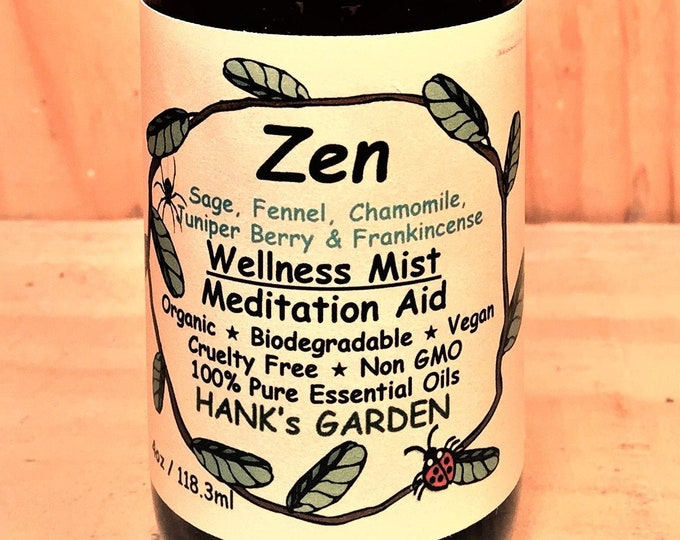 Featured listing image: ZEN Wellness Mist - Meditation Aid - Sage, Fennel, Chamomile, Juniper Berry & Frankincense - Vegan - Organic - Non GMO - Cruelty Free