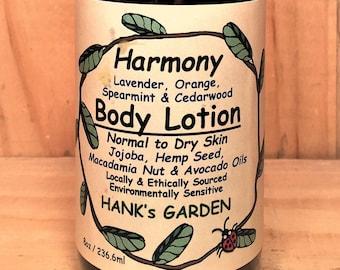 HARMONY - Lavender, Orange, Spearmint, Cedarwood Body Lotion - Normal to Dry Skin - Jojoba, Hemp Seed, Macadamia Nut, Avocado Oils - Organic