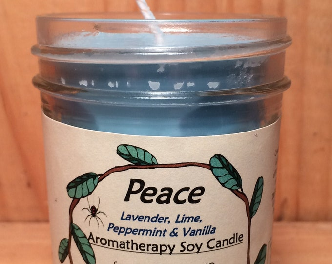 Featured listing image: PEACE Aromatherapy Soy Candle - 100% Pure Essential Oil of Lavender, Lime Vanilla & Peppermint - Clean Burn, Earth Friendly, Cotton Wicks